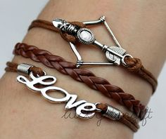 Silver, infinite love domineering bow bracelet brown rope brown leather woven fashion bracelet charm bracelet-Q101 by luckystargift, $3.19