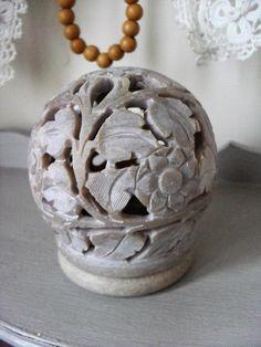 Indian SOAPSTONE Incense Cone Burner Tea Light Candle Holder