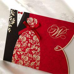 Convite-De-Casamento-Vermelho-Cartoes-Com-Envelopes-Selos-impressao-personalizado-personalizado