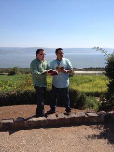 Myles and Yuval read the beatitudes in Hebrew and English with Capernaum and the Galilee in view. ZLM Spring 2013 Tour