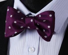 BD2012T Violet Dot 100%Silk Jacquard Woven Men Butterfly Bow Tie BowTie Pocket Square Handkerchief Hanky Suit Set