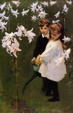 John Singer Sargent (American expatriate artist, 1856-1925) Garden Study of the Vickers Children