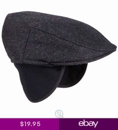 d497a6cba69 Mens Tilley Endurables Ivy Winter Driving hat Cap Ear flaps Black Small 6  78-7