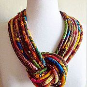 African Fabric Knotted Tribal Necklace by Painted threads African Fabric Knotted Tribal Necklace by Painted threads African Necklace, African Jewelry, Tribal Necklace, Ethnic Jewelry, Beaded Necklace, Necklaces, African Inspired Fashion, African Print Fashion, African Prints