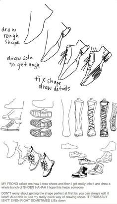Manga Drawing Techniques How to draw shoes - Drawing reference - Drawing Skills, Drawing Techniques, Drawing Tutorials, Drawing Tips, Drawing Reference, Art Tutorials, Drawing Sketches, Art Drawings, Sketching