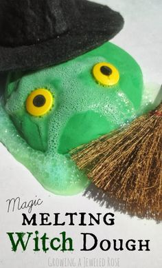 Melting witch dough is really quite magical.  This dough is mold-able- Kids can make witches and they will melt once their hands are still. They can make their witches FIZZ & bubble. They can make wicked witch magic........ So many FUN ways for kids to PLAY!