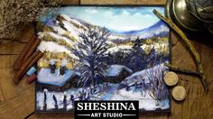 How to draw a winter village in the mountains with soft pastels Sheshina Ekaterina