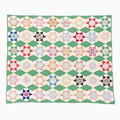 Unique Quilt – 6 pointed Star in Star   Mingei