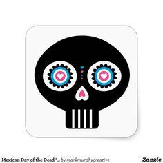 Mexican Day of the Dead 'Dia de Muertos' Skull Square Stickers