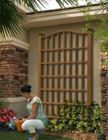 Bring a classic plant support to your landscaping or the side of your wall with New England Arbors Concord Composite Cedar Trellis. Cedar Trellis, Arbors Trellis, Garden Trellis, Clematis Trellis, Wall Trellis, Trellis Ideas, Pergola Patio, Backyard Landscaping, Pergola Plans