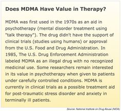 The National Institute on Drug Abuse (NIDA) website highlights past and present uses of MDMA-assisted psychotherapy.