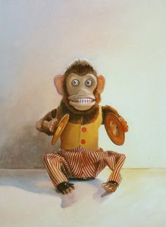 Vintage Toy Monkey Oil Painting by annmillerpaints on Etsy