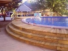A swimming pool can be a good and convenient way of playing in the backyard. Here are some above ground swimming pool ideas that can aid one in a purchase. Round Above Ground Pool, Above Ground Swimming Pools, In Ground Pools, Pool Deck Plans, Backyard Pool Landscaping, Landscaping Ideas, Pool Fence, Tropical Landscaping, Concrete Pool
