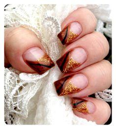My autumn nail Trendy Nails, Cute Nails, My Nails, Autumn Nails, Fall Nail Art, Nail Polish Designs, Cute Nail Designs, Bronze Nails, Thanksgiving Nail Art