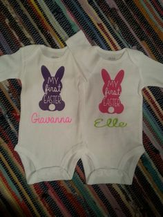Adorable Personalized/Monogrammed Easter onesie. Baby boy/girl. Tshirt. https://www.etsy.com/listing/217685747/personalized-spring-easter-bunny-rabbit