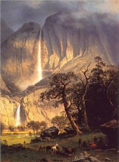 Cho-looke, The Yosemite Fall: 1864 by Albert Bierstadt (Timken Museum of Art - San Diego) - Hudson River School Landscape Art, Landscape Paintings, Landscapes, Albert Bierstadt Paintings, Yosemite Waterfalls, Carl Spitzweg, Painting Prints, Art Prints, Matte Painting
