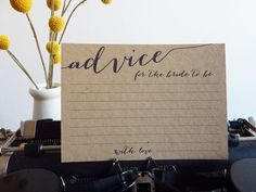 Bridal Shower Advice Cards Printable Advice by WhiteWillowPaper