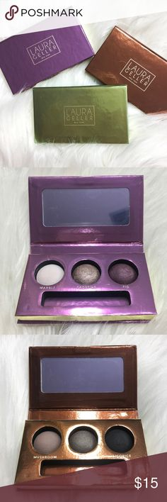 $15 for ALL THREE Laura Geller Eyeshadow Pallets! $15 for ALL 3 pallets!! From the Laura Geller Truffles Collection. NEW! NEVER BEEN USED!!! Beautiful & wearable colors. Great for traveling due to their compact size! Magnetic closure.  Chocolate Plum Cordial: -Marble (light baby pink matte) -Frosting (taupe shimmer) -Fig (purple shimmer)  Chocolate Pistachio: -Vanilla (light beige matte) -Vintage (copper bronze) -Forest (hunter green shimmer)  Chocolate Truffle: -Mushroom (light grey matte)…