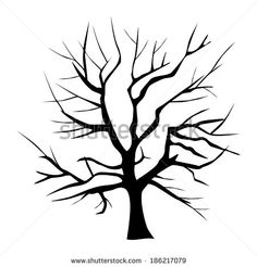 scary bare black tree silhouette   Scary bare black tree silhouette Stock Photos, Illustrations, and ...