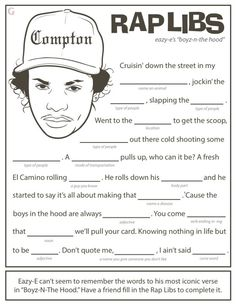 mad libs worksheets for adults Road Trip Activities, Book Activities, Mad Libs For Adults, Funny Mad Libs, Hip Hop Hooray, Hip Hop Party, Dj Party, Party Games, Straight Outta Compton