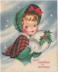 Vintage Greeting Card Christmas Children Girl Winter Muff e438