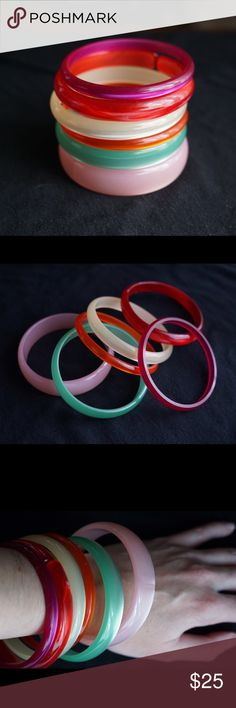 Vintage Moonglow bracelets Amazing vintage lot of 6 moonglow bangle bracelets! You will receive: light pink, cherry red (split style), raspberry, orange, apple green, and ivory/pale yellow. Very fun set! | No trades please Vintage Jewelry Bracelets