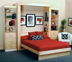 Hidden Wall Bed With Red Pillow And Bed, ikea wall bed, wall bed kit ~ Home Design Cama Murphy Ikea, Small Apartments, Small Spaces, Camas Murphy, One Room Flat, Bedroom Furniture, Bedroom Decor, Bar Furniture, Bedroom Ideas