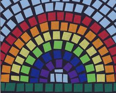 """Art Projects for Kids: Mosaic Rainbow - this would work for for lots of different things for Girl Scouts (diversity, weather, learning the Law, cooperation).  I like it because my Service Unit is called """"Rainbow Stars"""". :)"""