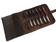 Leather Pencil Case, Leather Pen Case,  Brown,  Leather Travel Case, Handstitched on Etsy, $42.00