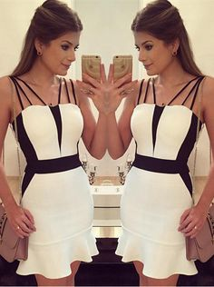 Sexy Black and White Mermaid Short Party Gowns_High Quality Wedding Dresses, Quinceanera Dresses, Short Homecoming Dresses, Mother Of The Bride Dresses - Buy Cheap - China Wholesale - 27DRESS.COM