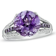 10.0mm Amethyst and Lab-Created White Sapphire Ring in Sterling Silver - Size 7