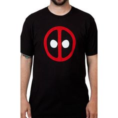 Deadpool Logo Shirt ❤ liked on Polyvore featuring tops, logo shirts, logo tops, black shirt, black top and shirts & tops