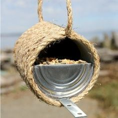 Recycled Can and Rope Birdfeeder