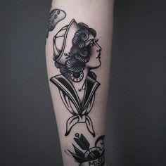 Sailor Girl Tattoo by Tony Nilsson SailorGirl traditional classictattoos TonyNilsson