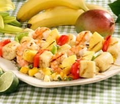 Island Kabobs with Tropical Fruit Salsa by Reader's Digest.    Follow recipe at http://www.readersdigest.ca/food/recipes/main-courses/island-kabobs-tropical-fruit-salsa