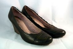 ~~ Anthropologie Seychelles Shoes ~Black Wedges /w Pink Stitching ~ SZ 8.5 M ~~ #Seychelles #PlatformsWedges