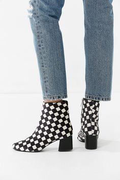 Slide View: 6: Mel Velvet Checkerboard Ankle Boot