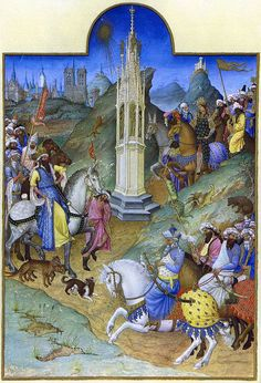 The Limbourg Brothers;Très Riches Heures du Duc de Berry f. 51v: The Meeting of the Magi France (c. 1412) Illuminated Manuscript. [x] [x] [x] [x]