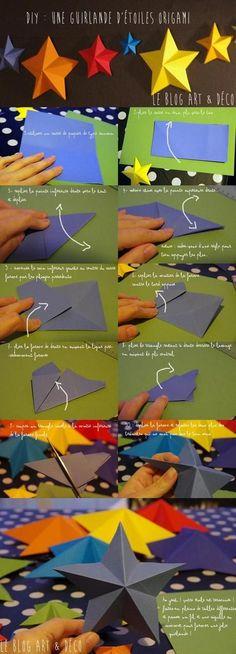 [DIY No& n& Une guirlande d& en origami ! Origami Diy, Origami And Kirigami, Origami Tutorial, Origami Paper, Diy Paper, Paper Art, Paper Crafting, Oragami, Dollar Origami