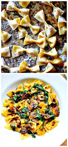 Fresh Farfalle Pasta with Mushrooms & Spinach (olive oil, fresh breadcrumbs, garlic powder, olive oil, yellow onion, anchovy fillets, thyme leaves, portobello mushrooms, garlic, baby spinach, lemon juice, red chili flakes)