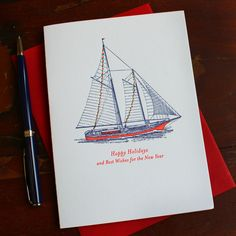 Decorated Ship Holiday Cards - set of eight | Sesame Letterpress Store
