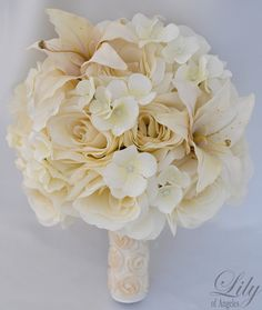 17pcs Wedding Bridal Bouquet Silk Flower by LilyOfAngeles on Etsy, $209.99