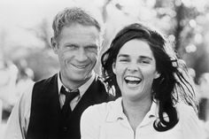 "They've got something to smile about. With soon-to-be second wife, Ali MacGraw, on the set of ""The Getaway."" 1972"