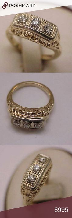 Antique 14k 2-tone gold diamond filigree ring 14k White and yellow gold ring 3 old cut diamonds  Si in clarity and h in color, estimated. 40ct.  Weight 5.6gr. Size 6 1/2.. Jewelry Rings