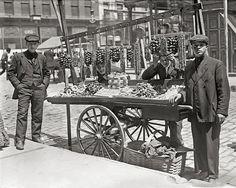 Little Italy Food Cart, 1908. Vintage Photo Digital Download. Black & White Photograph. New York, Italian Food, Feast, Historical.
