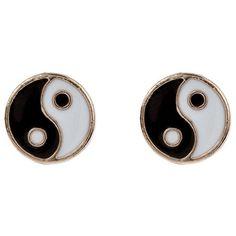 Accessorize Ying Yang Stud Earrings (3,45 PLN) ❤ liked on Polyvore featuring jewelry, earrings, accessories, black, brincos, earring jewelry, yin yang earrings, accessorize earrings, accessorize jewelry and stud earrings