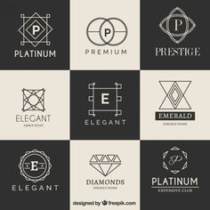 Luxury logotype collection Free Vector