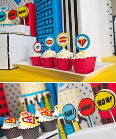 superhero party cupcakes Decided that we're going cupcakes this year with our superhero theme rather than a fondant superhero cate. Good cnoice I think. <3
