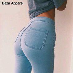 2016 Высокой стрейч джинсы женские черный синий СЕКСУАЛЬНАЯ узкие брюки Америка марка качество брюки новые прибытия купить на AliExpress