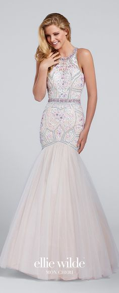 Prom Dresses 2017 - Ellie Wilde for Mon Cheri - Floral Embroidered and Beaded Mermaid Prom Dress with Tulle Skirt - Style No. EW117159